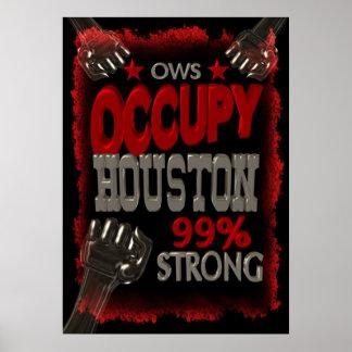 Ocupe el poster fuerte de la protesta de Houston O