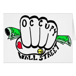 Ocupe el puño de Wall Street Tarjeta De Felicitación