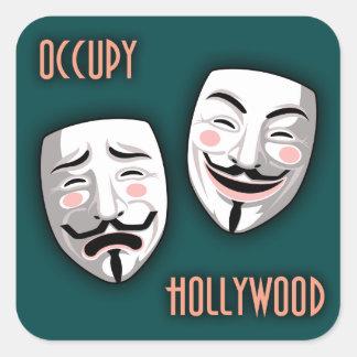 Ocupe Hollywood Calcomanías Cuadradass Personalizadas