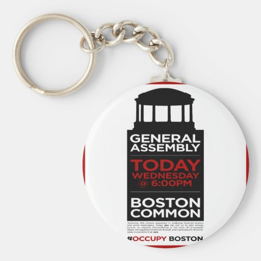 Ocupe la Asamblea General BOSTON de Wall Street Llavero Redondo Tipo Pin
