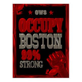 Ocupe la protesta de Boston OWS poster fuerte del Postales