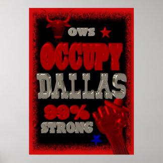 Ocupe la protesta de Dallas OWS poster fuerte del