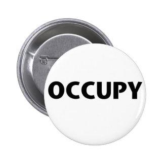 Ocupe (negro en blanco) pin redondo 5 cm