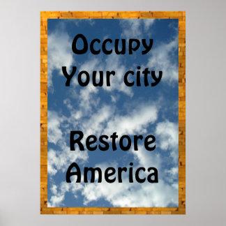 Ocupe su ciudad--restaure la muestra 20x28 de Amér Impresiones