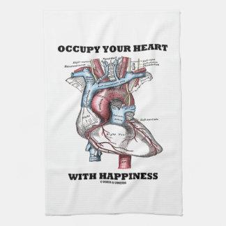 Ocupe su corazón con la felicidad (anatómica) toallas de mano
