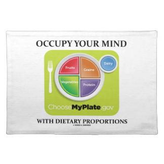 Ocupe su mente con las proporciones dietéticas mantel