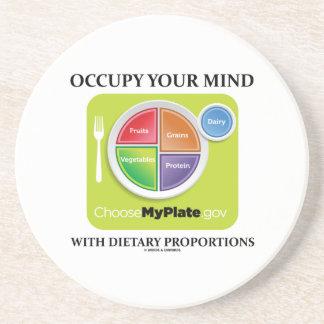 Ocupe su mente con las proporciones dietéticas posavasos para bebidas