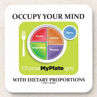 Ocupe su mente con las proporciones dietéticas posavasos de bebidas
