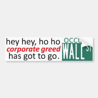Ocupe Wall Street la AVARICIA ey que CORPORATIVA Pegatina Para Auto