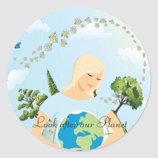 Ocúpese nuestro planeta etiqueta redonda