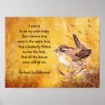 Oda a saltar poema con el Wren del pájaro de Bown Posters
