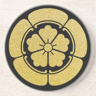 Oda clan Mon or Kamon black gold Beverage Coasters