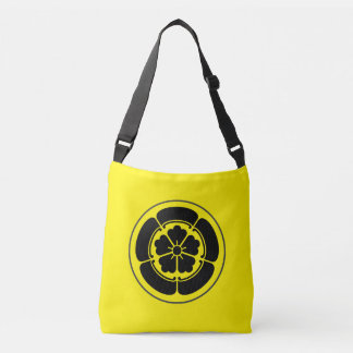 Oda Mon Japanese samurai clan black on yellow Crossbody Bag