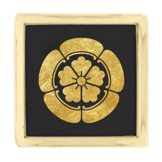 Oda Mon Japanese samurai clan faux gold on black Gold Finish Lapel Pin