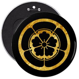 Oda Mon Japanese samurai clan faux gold on black Pinback Button