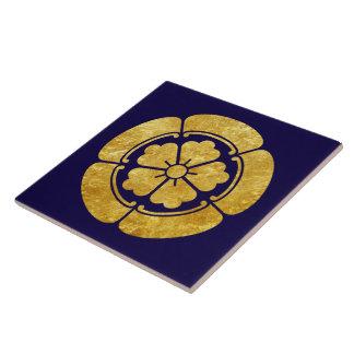 Oda Mon Japanese samurai clan faux gold on blue Tile
