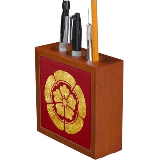 Oda Mon Anese Samurai Clan Faux Gold On Red Pencil Pen Holder