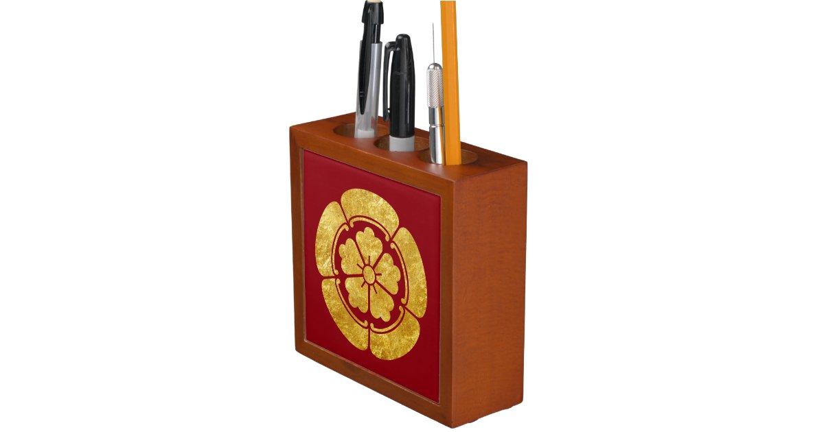 Oda Mon Anese Samurai Clan Faux Gold On Red Pencil Pen Holder Zazzle