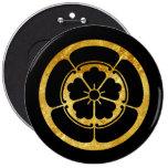 Oda Mon Japanese samurai clan gold on black 6 Inch Round Button
