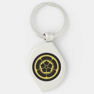 Oda Mon Japanese samurai clan gold on black Silver-Colored Swirl Metal Keychain