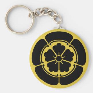 Oda Mon Japanese samurai clan yellow on black Basic Round Button Keychain