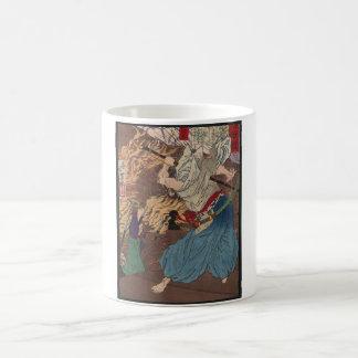 Oda Nobunaga fighting Samurai c.1800s Japanese Art Mugs