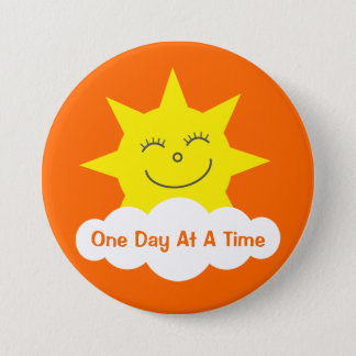 ODAAT Happy Cartoon Sun Customizable Orange Pinback Button