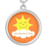 ODAAT Happy Cartoon Sun Customizable Orange Round Pendant Necklace