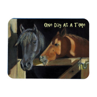 ODAT (One Day At A Time) Pastel Painting of Horses Rectangular Photo Magnet