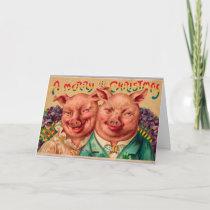 Odd Couple Christmas Card Pig Couple!