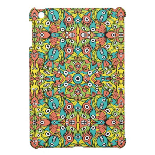 Odd creatures multiplying to form a pattern design case for the iPad mini