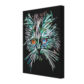 Odd-Eyed Glowing Cat Canvas Print