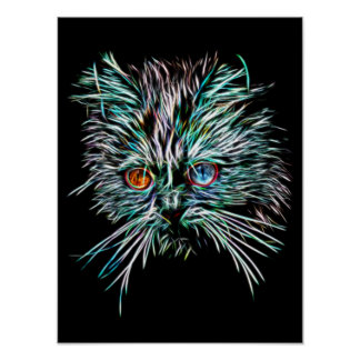 Odd-Eyed Glowing Cat Poster