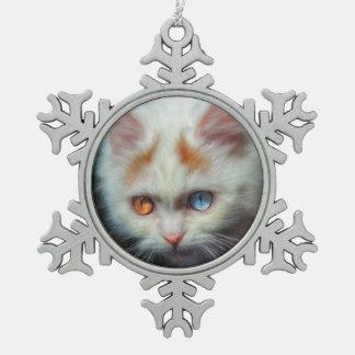 Odd-Eyed Persian Kitten Snowflake Pewter Christmas Ornament