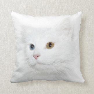 Odd eyed white cat face throw pillow