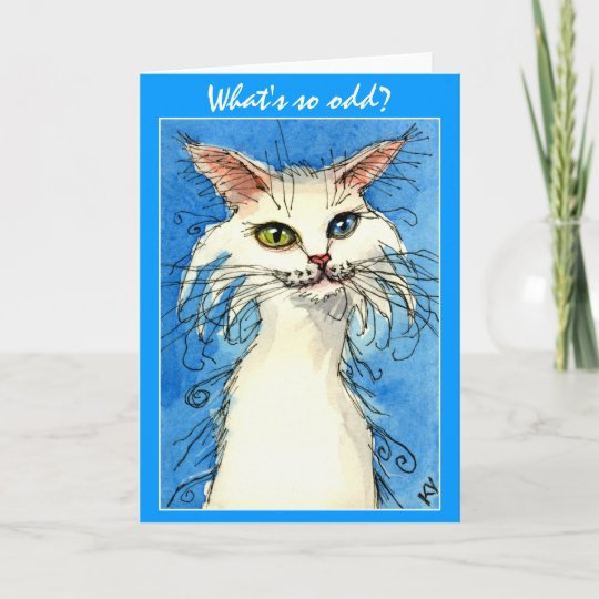 Odd eyed white cat on blue greeting card zazzle odd eyed white cat on blue greeting card m4hsunfo