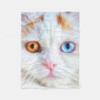 Odd-Eyed White Persian Cat Fleece Blanket