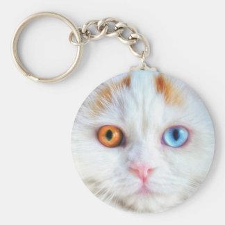 Odd-Eyed White Persian Cat Keychain
