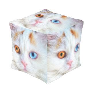 Odd-Eyed White Persian Cat Pouf