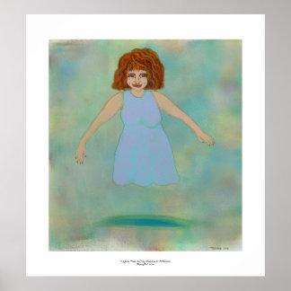 Odd floating woman strange outsider brut folk art poster