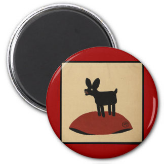 Odd Funny Looking Dog - Colorful Book Illustration 2 Inch Round Magnet