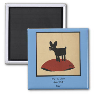 Odd Funny Looking Dog - Colorful Book Illustration 2 Inch Square Magnet