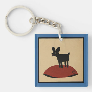 Odd Funny Looking Dog - Colorful Book Illustration Keychain