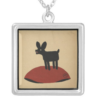 Odd Funny Looking Dog - Colorful Book Illustration Square Pendant Necklace