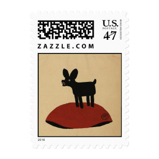 Odd Funny Looking Dog - Colorful Book Illustration Postage