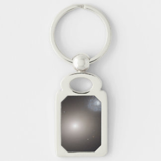 Odd Galaxy Couple on Space Voyage Silver-Colored Rectangular Metal Keychain