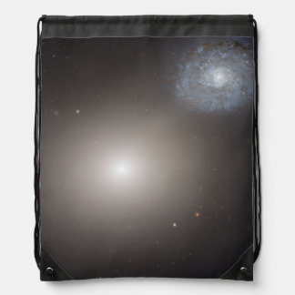 Odd Galaxy Couple on Space Voyage Drawstring Backpacks