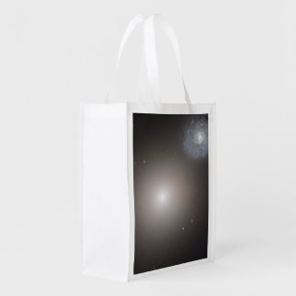 Odd Galaxy Couple on Space Voyage Reusable Grocery Bags