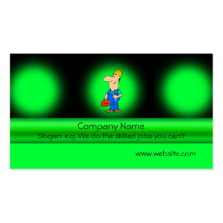 Odd-job mechanic on green metallic-effect Double-Sided standard business cards (Pack of 100)
