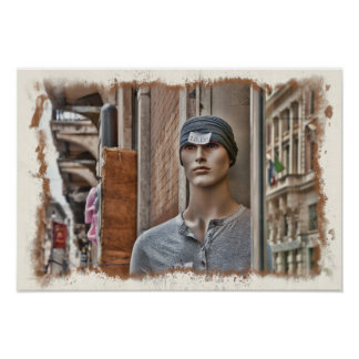 Odd Mannequin in Turban With Discount Sticker Rome Poster